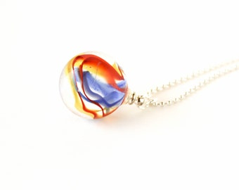 Red yellow and blue glass marble silver ball chain long necklace
