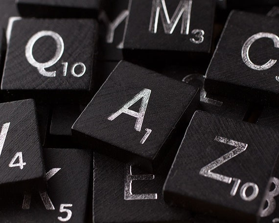 Like this item. 100 Scrabble Tiles Black Wooden Scrabble Tiles Complete