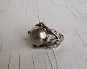 Vintage Art Deco Sterling Silver Dome Top Gothic Ring Egyptian Revival