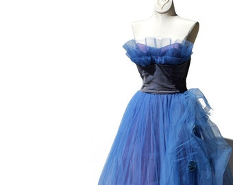 Vintage  Brazilian Blue Tulle Evening Gown / Party dress