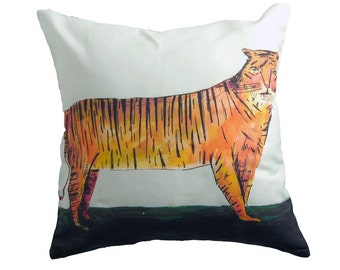 Two sided tropical pillow, flowers and tiger