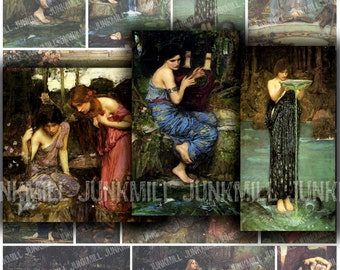 NYMPHS - Digital Printable Collage Sheet - Medievel, Renaissance & Pre-Raphaelite Paintings, Fantasy Fairy Tale Princesses, Instant Download