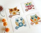 Set of 4 Owls Die Cut Vinyl Stickers Art Decals