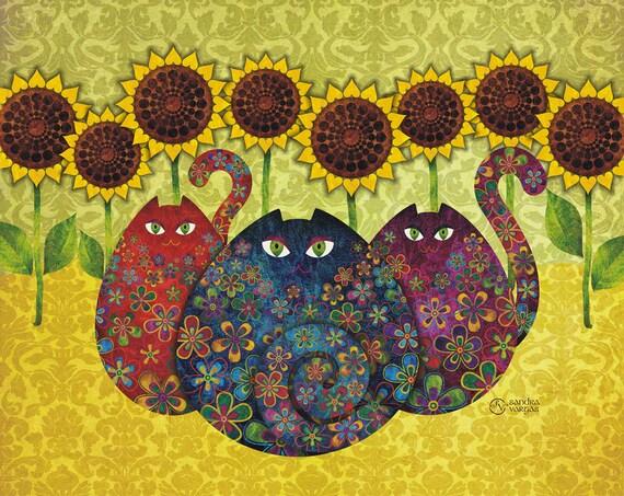 Cats & Sunflowers 8 x 10 Digital Art Print