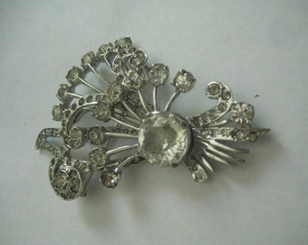 Eisenberg Sterling and Rhinestone Brooch from the 30s or 40s