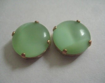 2 14mm Mint Green Moonstones Cabochon Top West German Rhinestones in Red Brass Sew on Settings