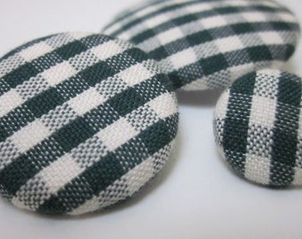 3 Mixed Green Gingham Fabric Buttons
