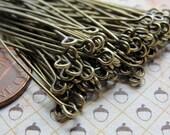 Long Antiqued Brass eyepins, 60mm,  21 gauge, 100pcs  HP7504