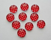 Red White polka dot glass cabochon 10mm beads, 8 CAB644