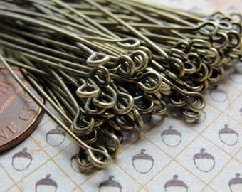 Long Antiqued Brass eyepins, 60mm,  21 gauge, 100pcs  HP7504