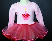 SALE Birthday SEWN Tutu and Tshirt with Cupcake and Ribbon Trim, in size 6m bodysuit ONLY