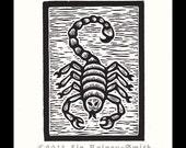 Scorpio Zodiac astrological woodcut hand pulled print 6 x 5