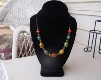 Multi Color Pottery Bead Antique Brass Necklace