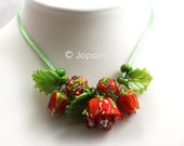 Lampwork by JOPANDA  Roses Red Romantic Necklace