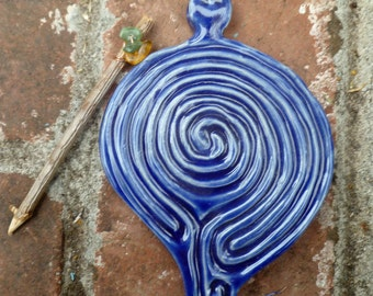 Spiral Turtle Goddess Tracing Pocket Labyrinth Cobalt