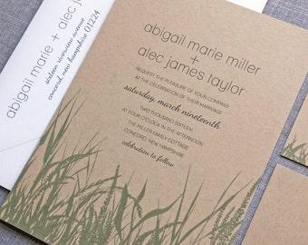Abigail Green Grass Kraft Wedding Invitation Sample