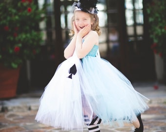 Whimsical Alice in Wonderland Costume Tutu Dresses Perfect for Photo Prop, Birthday, Halloween Costume custom made sz 1-8