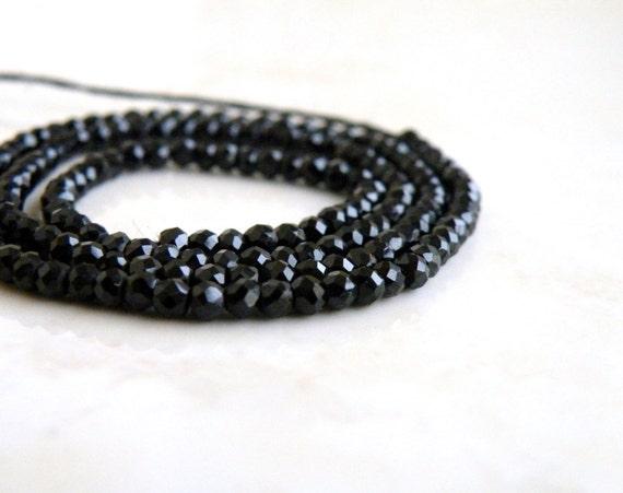 Black Spinel Gemstone Faceted Rondelle 2.5mm Full Strand 150 beads Wholesale