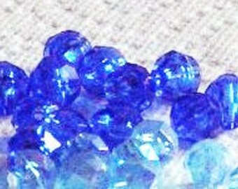 Sapphire blue and Turquoise 6mm Round Faceted Beads, Two Color Combo Pack, Vintage Acrylic Beads, Total Quantity of 425