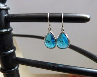 March Birthstone -  Blue Glass and Silver Framed Teardrop Faceted Tear Drop Silver Earrings