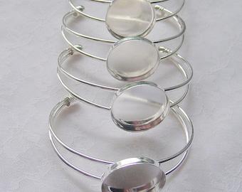 4 Round Cuff Bracelet Blanks Shiny Silver