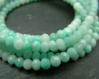 """Amazonite Rondelles, AA-AAA, Faceted, 3.5-4mm - 8"""" Strand (ET5857)"""