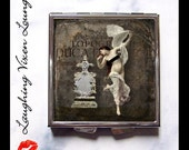 Gothic Mirror - Vintage Nudes Compact Mirror - Dark Beauty Style-F - Burlesque Spooky Pill Box - Vintage Women - Creepy Pillbox