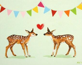 Valentine print, Celebrate Love - PRINT baby and kids nursery decor, deer, heart, valentines day, love, forest