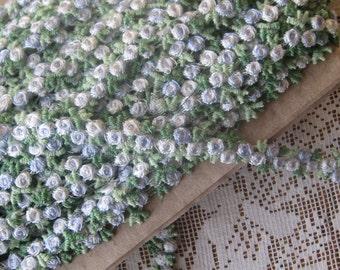 2-3/4 Yards Venise Lace Pale Blue And White Rosebud Ribbon Trim 3/8 Inch Wide Roses  V-18