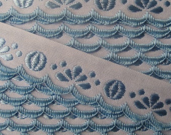 Czech Republic Woven Light Blue Embroidered Cotton Trim 20mm 2 Yards  Folk Costume Trim