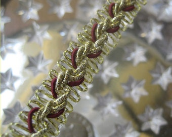 Czech Republic Gold And Burgundy Metallic Trim 10mm Wide 3 Yards