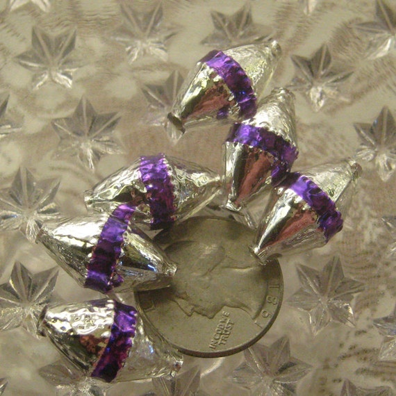Fancy mercury glass christmas garland striped beads handmade