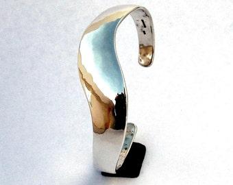 Sterling Silver Cuff Bracelet, S Curve,  Light Hammering