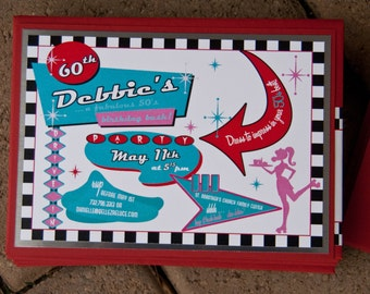 Soda Shop Drive-in Retro 50's Party Invitation Set of 10 by Belleza e Luce