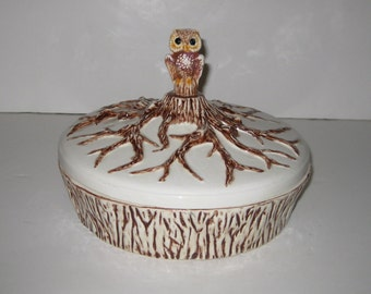 Vintage Ceramic Covered Dish Tree Bark Bark Design With Owl Finial
