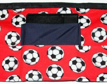 iPad Apron Art Craft Vendor Teacher Red Soccer Fabric (4 Pockets)