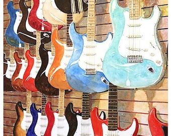 "13x19"" Fender Guitar Art Print Signed Numbered ""Fender Strats"""