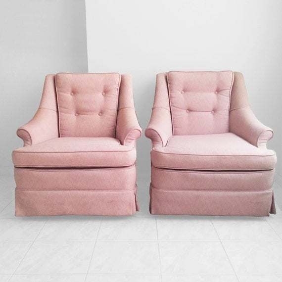 2 Mid Century Pink Tufted Swivel Chairs