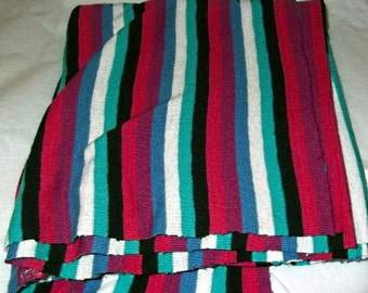Vintage 70s Stripe KNIT Fabric, Burgundy, Teal, Black, Craft