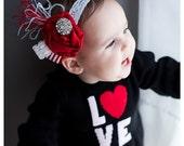 Baby Girls Headbands-Red Headbands-Valentines Day-Newborn Headbands-Girls Headbands-Photo Props-Red Baby Girls Headbands