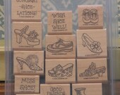 Stampin Up Steppin Style 2002 Stamps in Package, Shoes, High Heels, Baby