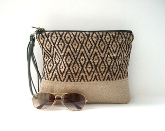 Clutch Bag, Wristlet, Boho  Summer Bag in Woven Jute