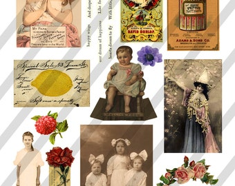 Digital Collage Sheet  Vintage Images  (Sheet no. O119) Ephemera-Instant Download
