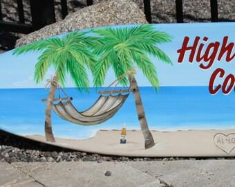 Surfboard wall art,  beach decor, personalized, hawaiian theme, tropical room decor, bar decor