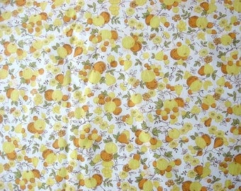 Vintage 1940's  Cotton  Fabric,  Apples and Pears in Yellows, Orange, Kitchen, Apron, Quilting