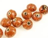 10 Pumpkin Beads - 12mm x 10mm Ceramic Hand Painted Orange Pumpkins Autumn Beads Fall Beads Halloween Supplies