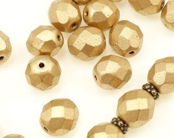 25 MATTE METALLIC FLAX 8mm Round Czech Glass Beads - Light Golden Brown Autumn Beads - Firepolish Fire Polish Faceted Beads
