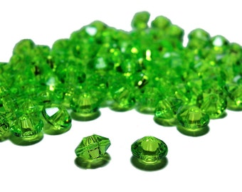 4x6mm acrylic Rondelle Saucer beads in Lime Green 100 beads