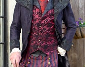 Black Tapestry and Suede  Steampunk Frock Cutaway Swallowtail Wedding Jacket,Waistcoat, Trousers,  Frilly Shirt and Cravat