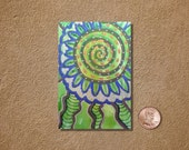 Funky Lime Flower ACEO Original Watercolor Painting
